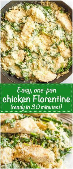 Easy chicken Florentine is a light and flavorful one-pot recipe ready in 30 minutes - perfect for a busy weeknight dinner!   www.familyfoodonthetable.com
