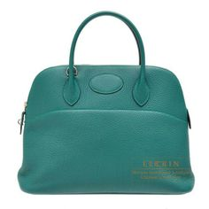 657d46679394 Hermes Bolide Bag 35 Malachite Clemence Leather Silver Hardware
