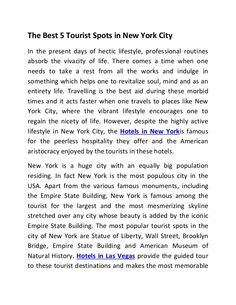 The Best 5 Tourist Spots in New York City