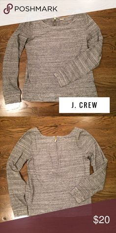 J. Crew Sweater with back zipper J. Crew sweatshirt sweater. I love this top because it's high quality sweatshirt-like material but fits like a sweater. Totally passes for casual Friday at the office! Cute back zip detail. J. Crew Sweaters Crew & Scoop Necks