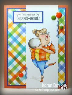 Art Impressions Rubber Stamps: Ai People: Incredibowl Set (Sku#4530) Handmade bowling card. sports, retro
