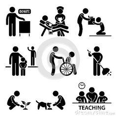 Nächstenliebe-Abgabe-freiwilliges helfendes Piktogramm
