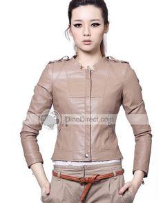 Long Sleeve Slim PU Leather Pocket Women Jacket