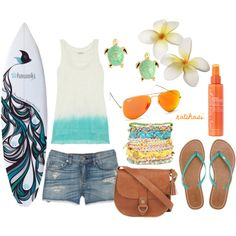 Super cute Summer Surfer Girl Outfit by natihasi on Polyvore featuring Clu, rag & bone/JEAN, American Eagle Outfitters, Fat Face, Ted Baker and Henri Bendel