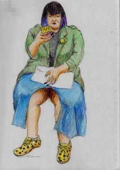 前開きスカートのお姉さん It is a sketch of a woman wearing a skirt open in front.  I drew on the train going to work.