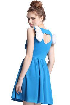 Cut-out Wings Embellished Blue Dress, The Latest Street Fashion! So cute & geeky!  #RomwePartyDress.