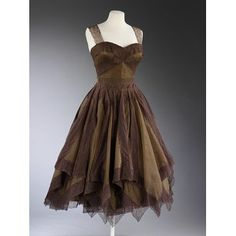 Evening dress.. Jean Desses, French, 1954-55, silk chiffon, lace