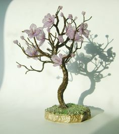 Purple  TREE FLOWERING  Home Decor Wire Beaded by NataliaDecor, $55.00
