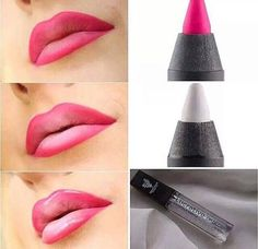 Loving the OMBRE' Look? Achievable with our Lip Liner, White Eye Liner and Gloss!