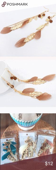 "NWOT Boho Long Feather Leaves Drop Earrings Coffee Stunning and light-weight Boho style feather earrings.  Gold-plated leaves mingle with beautiful coffee-brown feathers for movement and style. Approx. length 4.5"".  See these in off-white and teal-blue in my other listings. Bundle and save even more, PLUS save on shipping fees! Jewelry Earrings"