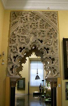 Palace of Aljafería, (Mudejar). Zaragoza, Spain. palacio islámico medieval fortificada construida durante la segunda mitad del siglo 11 en la taifa musulmana de Zaragoza de Al-Andalus, la actual Zaragoza, España. Fue la residencia de la dinastía de los Banu Hud durante la época de Abu Jaffar Al-Muqtadir despué