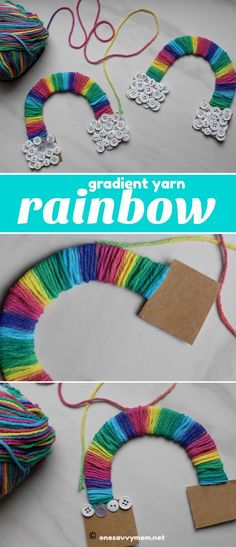 Gradient Yarn Rainbow Craft This gradient yarn craft is perfect for toddlers and younger kids. Gradient Yarn Rainbow Craft This gradient yarn craft is perfect for toddlers and younger kids. Yarn Crafts For Kids, Fun Craft, Arts And Crafts For Adults, Crafts For Girls, New Crafts, Summer Crafts, Toddler Crafts, Craft Activities, Cardboard Crafts Kids