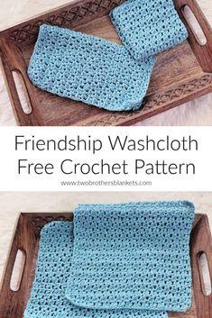 Friendship Washcloth Free Crochet Pattern - Two Brothers Blankets Crochet Kitchen, Crochet Home, Crochet Gifts, Crochet Yarn, Hand Crochet, Free Crochet, Crotchet, Beginner Crochet, Booties Crochet