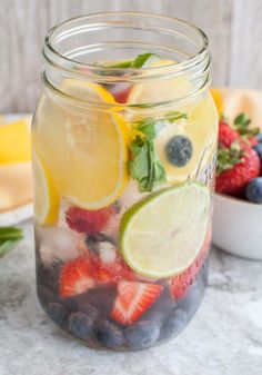 Rainbow Detox Water is full of beautiful fruit and basil. Refreshing and delicious, this infused water is full of nutrients and will keep you hydrated.