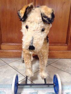 STEIFF ON WHEELS ANTIQUE FOX TERRIER  SCOTTISH FOX TERRIER DOG #EARLYSTEIFF