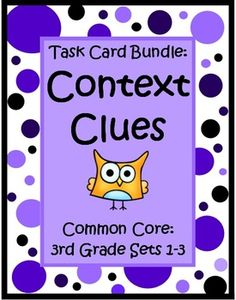 This Context Clues for 3rd Grade Task Card Bundle by The Teacher Next Door has 3 sets of Common Core task cards (96 cards) that will help your students practice identifying word meaning using context clues. Each card has a short story with a second grade vocabulary word (underlined) and students choose the correct meaning from the three that are listed. Context clues can be tricky, but this type of focused practice can really help strengthen reading skills and improve vocabulary. $
