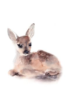 Fawn Print Watercolor Painting Nursery Decor Art for