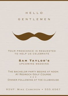 Gentlemans Moustache Bachelor Party Invitations Set by RootDown