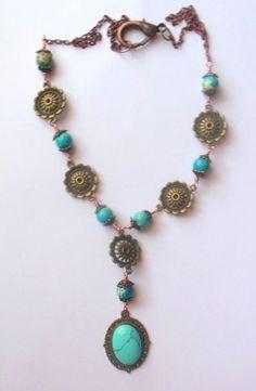 Bronze, turquoise colour necklace with sea sediment jasper beads.