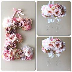 Floral monogram, Nursery wall art, Floral letter nursery, Blush nursery, Vintage blush decors