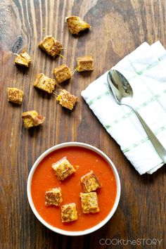 Tomato Soup with Grilled Cheese and Bacon Croutons - This easy, homemade soup comes together in just 15 minutes!