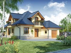 Projekt domu Swetoniusz 140,45 m2 - koszt budowy - EXTRADOM Home Fashion, Home Projects, Craftsman, House Plans, Floor Plans, House Design, Flooring, Vacation, Mansions