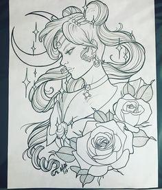 Pretty sailor moon for fun ! up for grab ! Sketch Tattoo Design, Tattoo Sketches, Tattoo Drawings, Moon Sketches, Girl Drawing Sketches, Dibujos Tattoo, Desenho Tattoo, Tattoos Skull, Tribal Tattoos