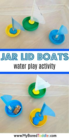 jar lid boats water play activity for toddlers - a fun sensory water play experience for one year olds, two year olds and three year olds. Perfect for toddlers and preschoolers for a summer or spring activity. #waterplay #toddleractivity #simpleplay #preschoolactivity