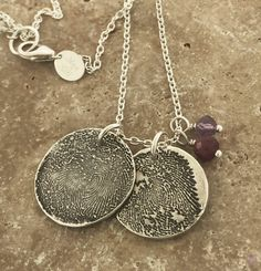 TWO FINGERPRINTS necklace with two birthstones, made from JPEG image of Fingerprint or Thumbprint, keepsake jewelry by MayaBelle on Etsy https://www.etsy.com/listing/515635399/two-fingerprints-necklace-with-two