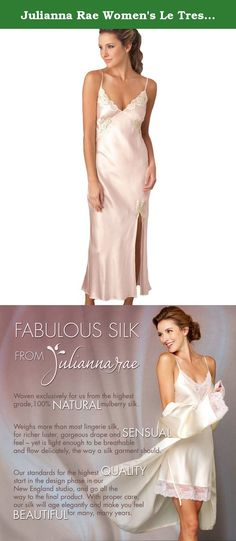 Julianna Rae Women's Le Tresor 100% Silk Gown, Petal, M. Glamorous without having to try - just like you! With lace at the neckline and at the gathered bust seam that delicately circles around your waist to help shape it. A gorgeous bias cut shape to give you that ultra feminine shape whether you were born with it or just want to look like you were. Made from luxurious silk - 100%. If you haven't tried a long silk nightgown before, you will want to try this one. Silk is a fabric that…