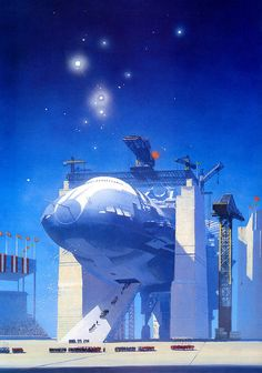 Here is another artist, John Harris. Harris is an American artist and his specialty is spaceships… BIG spaceships.