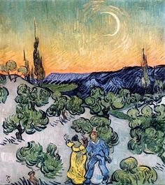 Vincent van Gogh: Landscape with Couple Walking and Crescent Moon, 1890
