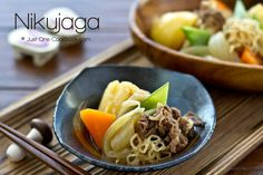 Nikujaga is one of the most popular Japanese comfort food, the delicious dish includes sliced beef slow cooked with potatoes, shirataki noodles, and onion.