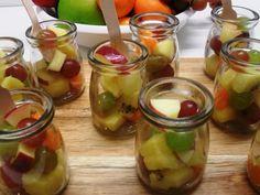 Mini fruit salads - We love these little jars of virtuousness Fruit Salads, Cucumber, Jars, Catering, Bakery, Tea, Mini, Food, Kitchens
