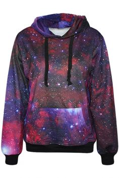 Essential #Red Galaxy Print #Hoodie - OASAP.com ★ FREE SHIPPING for All Products!!! 13rd Nov.- 14th Nov.