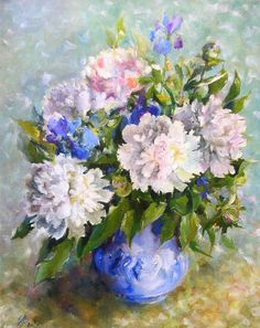 Peonies white bouqet painting Pionies painting Original painting oil Pionies picture 16*20 inch