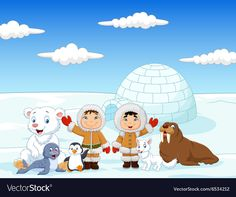 Little Kids Wearing Traditional Eskimo Costume With Arctic Animals Stock Vector – Illustration of northpole, childhood: 61538974 – KinderMode Eskimo Costume, Polar Animals, Creative Pictures, North Pole, Kids Wear, Vector Design, Childhood, Costumes, Cartoon