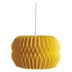 KURA Large yellow paper drum lampshade D42 x H27cm