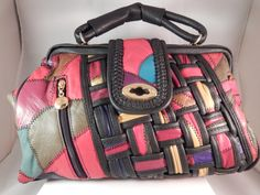 Womens Vintage Swanky Multi-Color Leather Patch by DOINGITSOBER #vintagebag #handbag