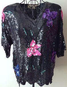 VTG Petite Illustrations 100% Silk Sequin Beaded Top Black Floral Bling Medium #RoyalFeelings #Vintage