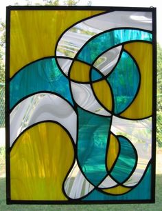 Modern Swirl  Teal and Yellow Stained Glass Panel door Nanantz