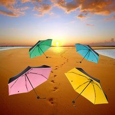 Women Mini Pocket Sunny and Rainy Mini Folding Fashion Pongee strong Frame Five-Folding inverted Women's umbrella parasol