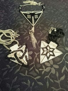 Black and silver miyuki triangle necklace