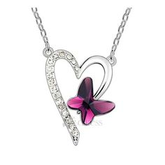 Elegant Style Women's Alloy Heart Shaped Crystal Necklace
