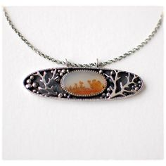 In The Woods necklace of oxidized sterling silver and dendritic agate cabachon by 6shadowsjewelry.