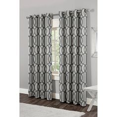 Exclusive Home Trinity Grommet Curtain Panel Pair Black Pearl - EH7912-01 2-X84G