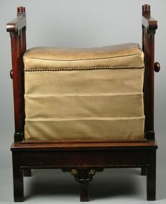 Chamber Horse, 1760, For exercise. A mahogany chamber horse (exercising chair) sprung seat, upholstered in beige calf skin with brass nails, pull out foot support. Wallington © National Trust / Susan McCormack