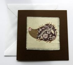 Applique card - Animal card - Stitched card - greeting card - Hedgehog card - machine embroidered - blank card - birthday card - uk seller by itsaMessyNest on Etsy
