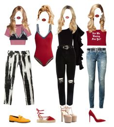 """""""YeonA's vacation fashion"""" by xxeucliffexx ❤ liked on Polyvore featuring Yves Saint Laurent, Alexander McQueen, LoveStories, Gucci, Beaufille, River Island, Gianvito Rossi, Soludos, Lime Crime and Topshop"""