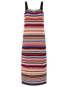 Monsoon | Carina Crochet Stripe Dress | Multi | Large